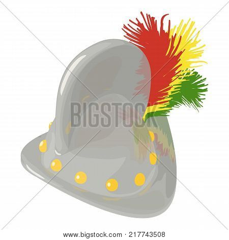 Helmet knight history icon. Isometric illustration of helmet knight history vector icon for web