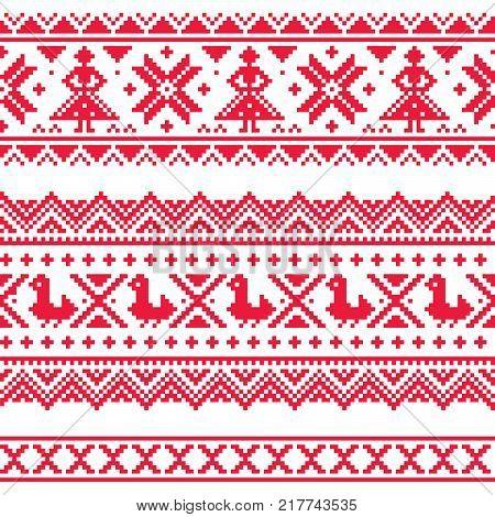 Sami band or belrd vector design, Lapland cross-stitch vector pattern, folk art Scandinavian, Nordic style