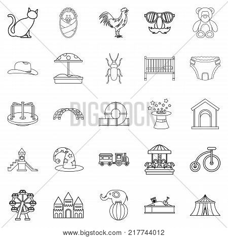 Boyishness icons set. Outline set of 25 boyishness vector icons for web isolated on white background