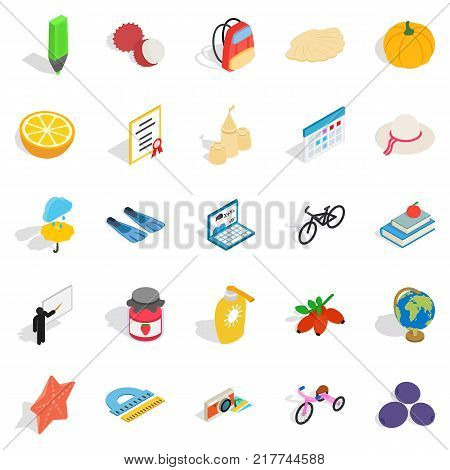 Children age icons set. Isometric set of 25 children age vector icons for web isolated on white background