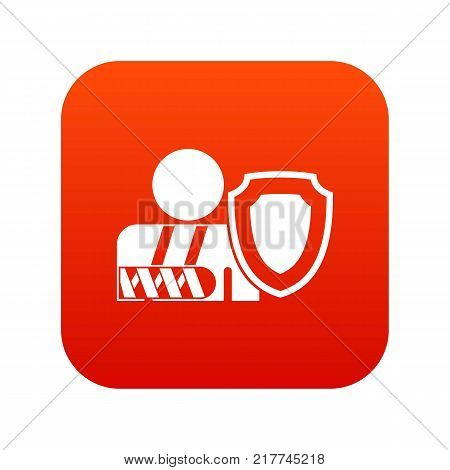 Broken arm and safety shield icon digital red for any design isolated on white vector illustration