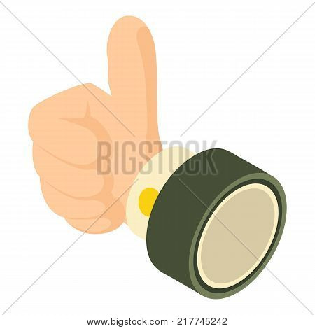 Thumbs up icon. Isometric illustration of thumbs up vector icon for web