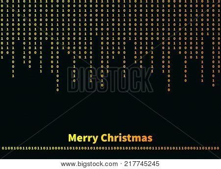Congratulations to programmer with christmas. Greeting card with binary code. Vector illustration