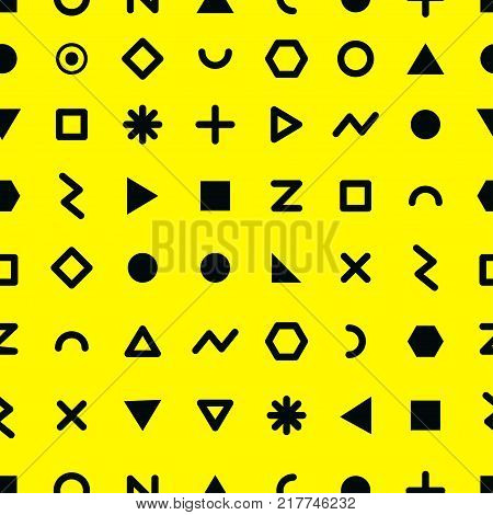 Seamless geometric pattern in the style of Memphis. Abstract background with geometric shapes in the style of the 80s. Stock vector