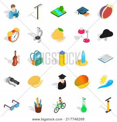 School upbringing icons set. Isometric set of 25 school upbringing vector icons for web isolated on white background