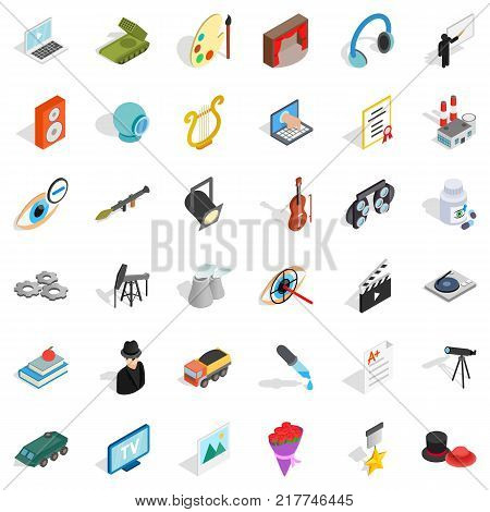 Employment icons set. Isometric style of 36 employment vector icons for web isolated on white background