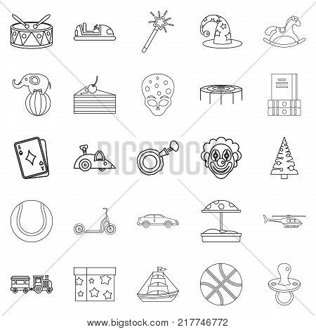Kid things icons set. Outline set of 25 kid things vector icons for web isolated on white background