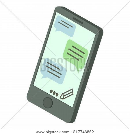 Chat message phone icon. Isometric illustration of chat message phone vector icon for web
