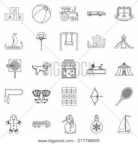 Dotish icons set. Outline set of 25 dotish vector icons for web isolated on white background