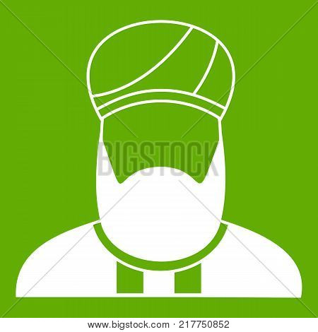 Muslim preacher icon white isolated on green background. Vector illustration