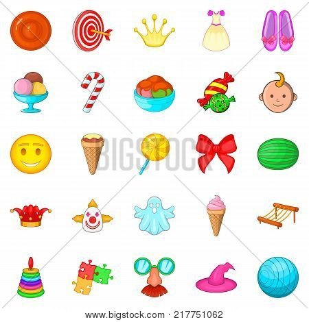 Feast for child icons set. Cartoon set of 25 feast for child vector icons for web isolated on white background