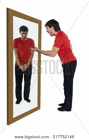 Man scolding himself in a mirror, his reflection feeling guilty
