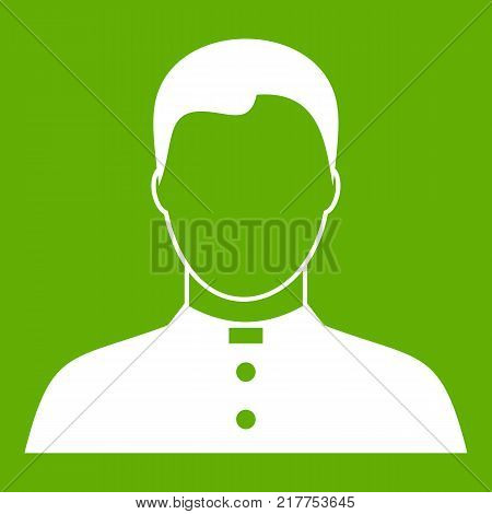 Pastor icon white isolated on green background. Vector illustration