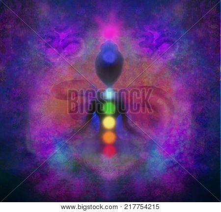 Yoga lotus pose. Padmasana with colored chakra points , raster