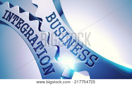 Business Integration - Illustration with Lens Flare. Business Integration Metal Cog Gears - Business Concept. with Glow Effect and Lens Flare. 3D Illustration .