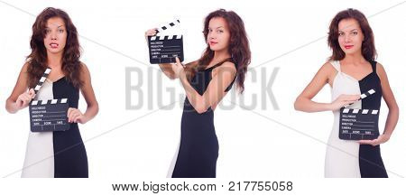 Woman with clapper movie board isolated on white