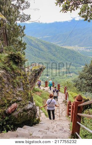 Paro Bhutan - September 18 2016: Tourists on the way back from Taktshang Palphug Monastery (the Tiger's Nest) Bhutan Asia