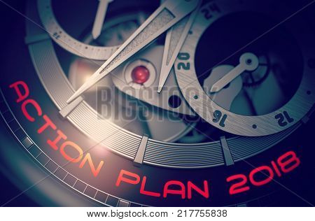 Vintage Watch with Action Plan 2018 on the Face, Symbol of Time. Time and Work Concept with Glowing Light Effect. 3D Rendering.