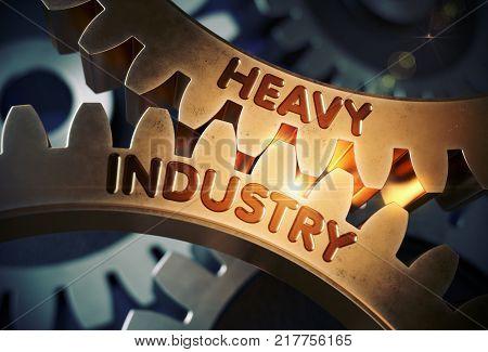 Heavy Industry on the Mechanism of Golden Metallic Cogwheels. Heavy Industry Golden Cogwheels. 3D Rendering.
