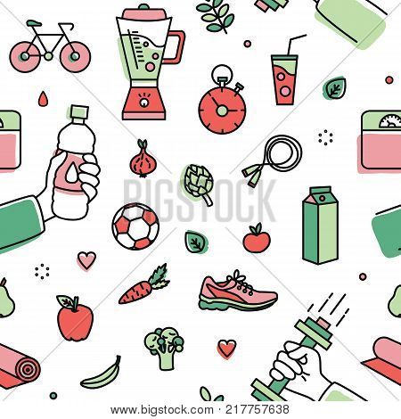 Seamless pattern with healthy lifestyle attributes - fresh organic fruits and vegetables, various sports equipment and apparel on white background. Colorful vector illustration in line art style