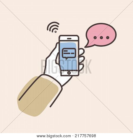 Hand holding smartphone with text message on screen and speech bubble. Phone with chat or messenger notification. Instant messaging service, chatting. Colorful vector illustration in line art style