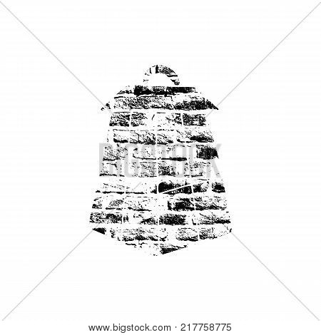 Vector textured lantern, stylized imprint on bricks. Black on white illustration, isolated element for holiday cards or stamp brushes creating. It will bring depth and vintage texture to any work.