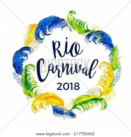 RIO Carnival. lettering design with feather frame. Vector illustration.