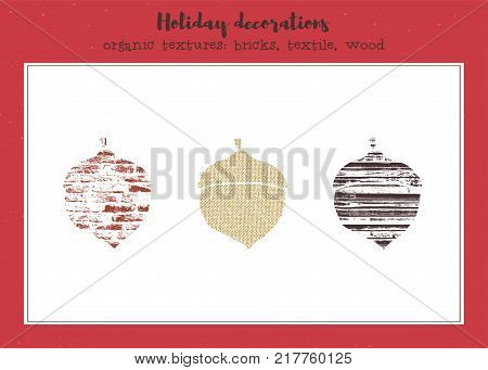 Vector set of textured acorns, stylized imprints on fabric, bricks and wood planks. Colored isolated elements for holiday cards or stamp brushes creating.