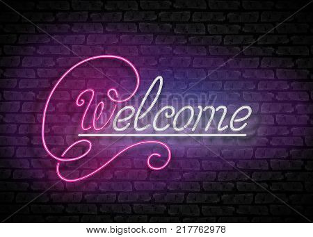 Vintage Glow Signboard with Welcome Inscription. Lamps in Swirly Shapes. Shiny Neon Light Style Hand Drawn Lettering. Advertisement Flyer. Vector 3d Illustration. Abstract Decorative Art