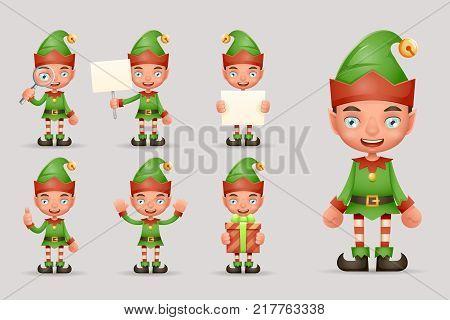 Boy Cute Elf Christmas Santa Claus Helper Teen New Year Holiday 3d Cartoon Characters Realistic Set Icons Design Vector Illustration