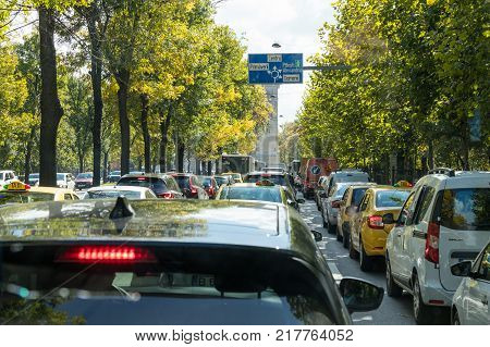 Bucharest Romania October 10 2017 : The traffic jam on the main street - Boulevard Maresal Constantin in Bucharest city in Romania