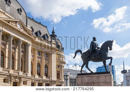 Bucharest Romania October 10 2017 : Fragment of the Revolution Square in Capital city of Romania - Bucharest