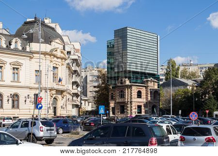 Bucharest Romania October 10 2017 : Revolution Square in Capital city of Romania - Bucharest