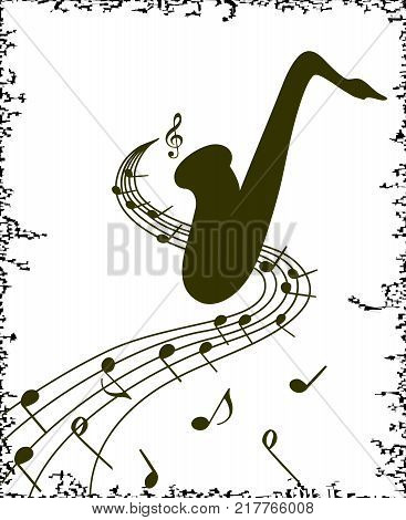 Stylish template of saxophone on white background for slogan, poster, flyer etc. Vector silhouette illustration of sax and musical notes on stave, can be used with any image or text.