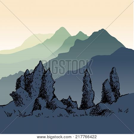 The nature of Kyrgyzstan. Mountains in the distance. Misty poplar in the foreground, beautiful nature. Hand drawing illustration
