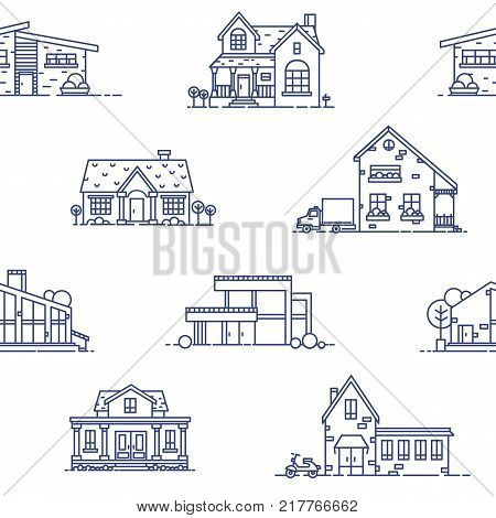 Seamless pattern with suburban houses drawn with blue contour lines on white background. Monochrome backdrop with various living or residential buildings. Vector illustration in lineart style