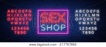 Sex shop logo, night sign in neon style. Neon sign, a symbol for sex shop promotion. Adult Store. Bright banner, nightly advertising. Vector Illustration. Editing text neon sign. Neon alphabet.