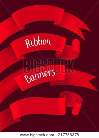 Red ribbon banners isolated on a dark background. Stock vector illustration.