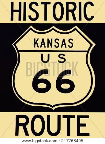 A old historic Route 66 sign in Kansas.