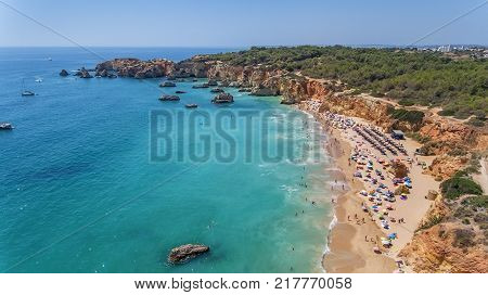 Aerial. Tourist beaches of the Portuguese city of Portimao. Shooted by drones Algarve