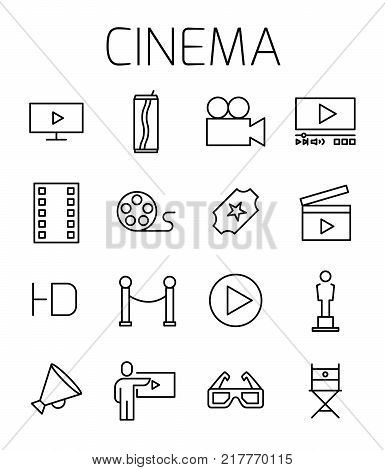 Cinema related vector icon set. Well-crafted sign in thin line style with editable stroke. Vector symbols isolated on a white background. Simple pictograms.