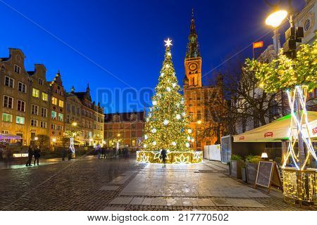 GDANSK, POLAND - DECEMBER 8, 2017: Christmas decorations in the old town of Gdansk, Poland. Gdansk is the historical capital of Polish Pomerania with gothic architecture.
