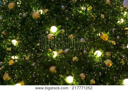 Christmas balls on the christmas tree for background.