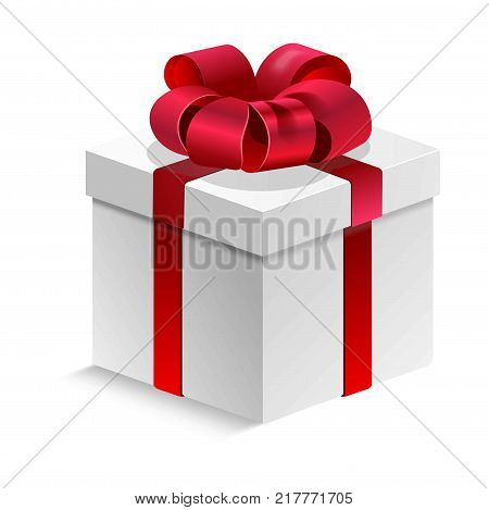 Gift box tied with red silk shiny ribbon and lush bow on top. Decorated cardboard cubic container for present with closed cover isolated cartoon flat vector illustration on white background.