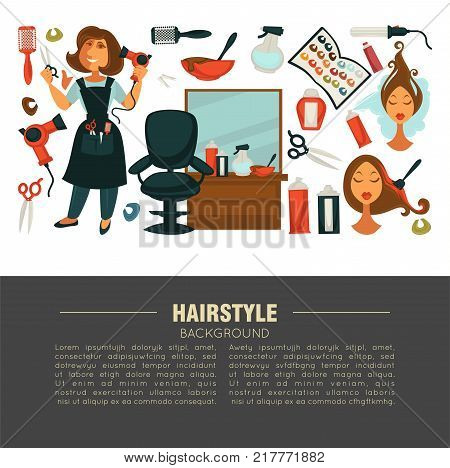 Hairstyle advertisement banner with stylist and work equipment. Woman in apron, special brushes, powerful hair dryer, big mirror, soft chair, color samples and female mannequin vector illustrations.