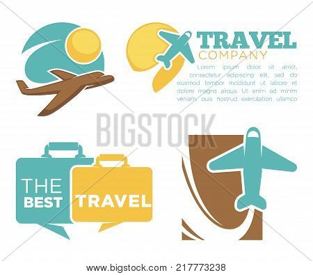Best travel agency promotional poster with planes and suitcase silhouettes and sample text cartoon flat vector illustrations on white background. Journeys arrangement company advertisement banner.