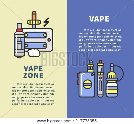 Vape zone vertical poster with modern devices for smoking that produce vapor with flavor, charge from electricity and refill with special liquid cartoon flat vector illustrations with sample text.