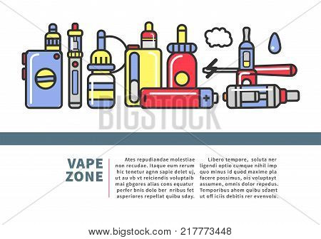 Vape zone Internet shop promotional poster with modern devices for smoking with flavor and accessories for recharge and refill cartoon flat vector illustration with sample text on white background.