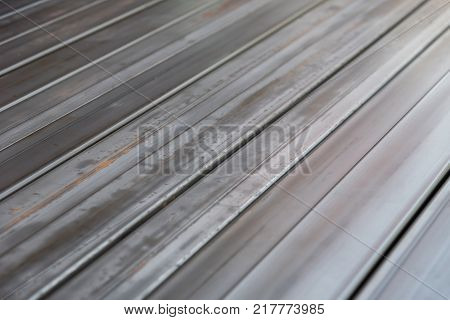 Group of C Chanel iron steel for construction.