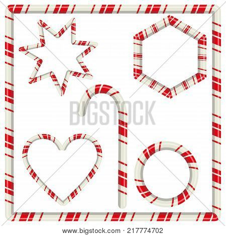 Candy cane mint hard striped in Christmas colours stick sugar food holiday decoration sweet xmas vector illustration. Traditional peppermint festive striped snack frame.